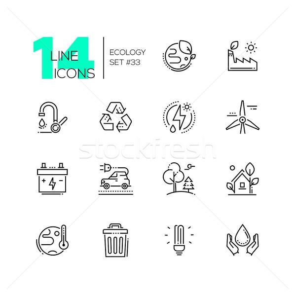 Ekologia zestaw line projektu stylu ikona Zdjęcia stock © Decorwithme