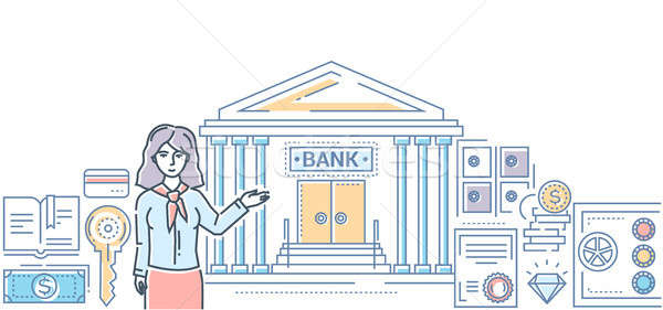 Banking industry - modern line design style colorful illustration Stock photo © Decorwithme
