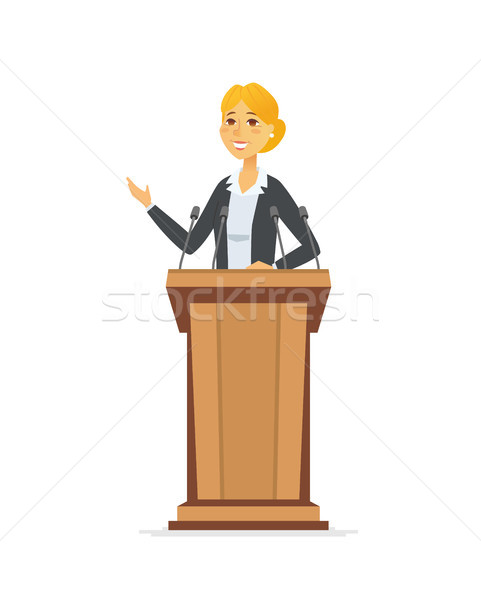 Female politician - cartoon people character isolated illustration Stock photo © Decorwithme