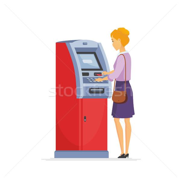 Fiatal nő bankautomata rajzolt emberek betűk illusztráció izolált Stock fotó © Decorwithme