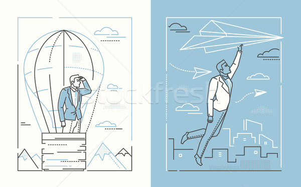 Conjunto linha projeto estilo ilustrações branco Foto stock © Decorwithme