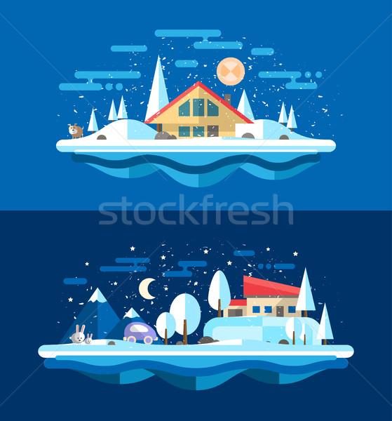 Stock photo: Illustration of flat design urban winter landscape compositions