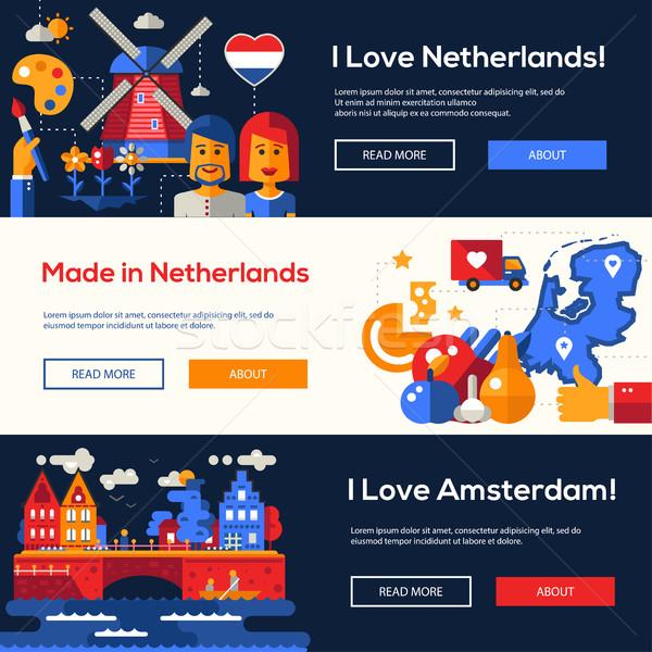Nederland website banners ingesteld welkom Stockfoto © Decorwithme