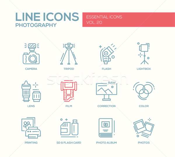 Photography line design icons set Stock photo © Decorwithme