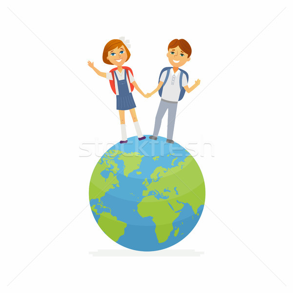 School Children - characters of happy boy, girl on a globe Stock photo © Decorwithme