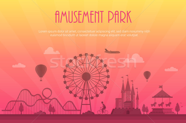 Amusement park - modern vector illustration with place for text Stock photo © Decorwithme