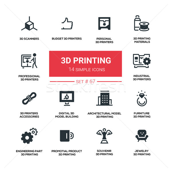 3D printing - line design silhouette icons set Stock photo © Decorwithme