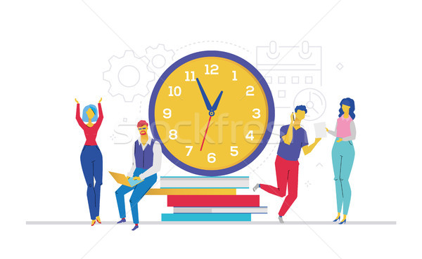 Time management - flat design style colorful illustration Stock photo © Decorwithme