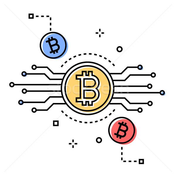 Bitcoin colorido línea diseno estilo ilustración Foto stock © Decorwithme