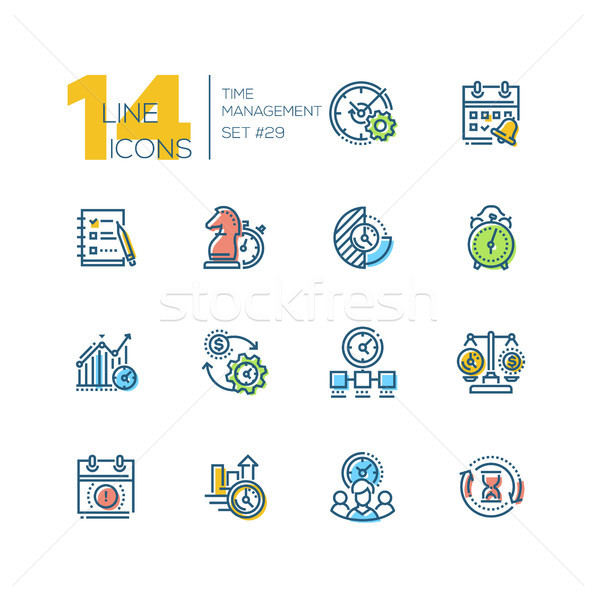 Time management - set of line design style icons Stock photo © Decorwithme