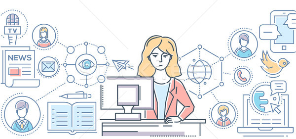 Public relations - line design style illustration Stock photo © Decorwithme