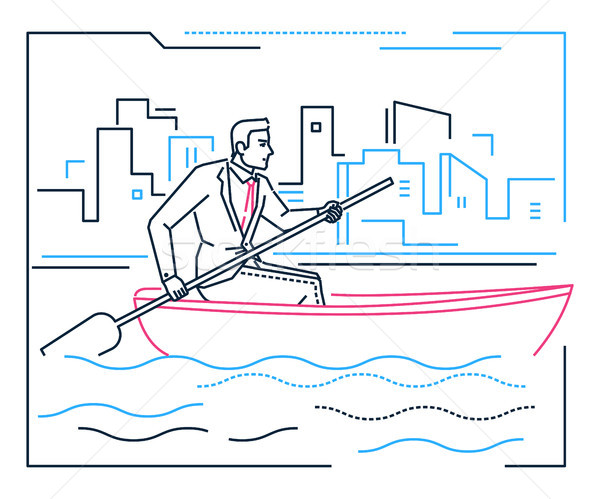 Businessman rowing a boat - line design style illustration Stock photo © Decorwithme