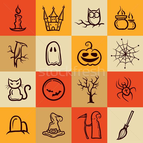 Set of retro graphical Halloween icons Stock photo © Decorwithme
