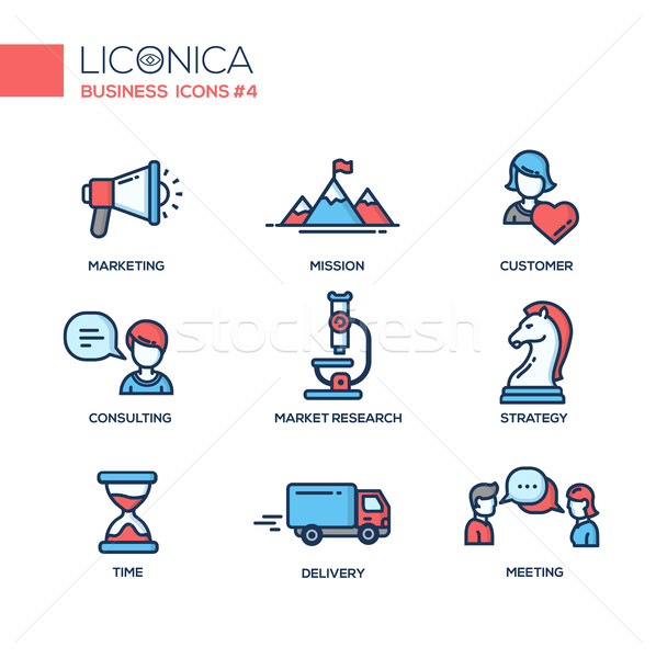 Office, business modern thin line design icons and pictograms Stock photo © Decorwithme