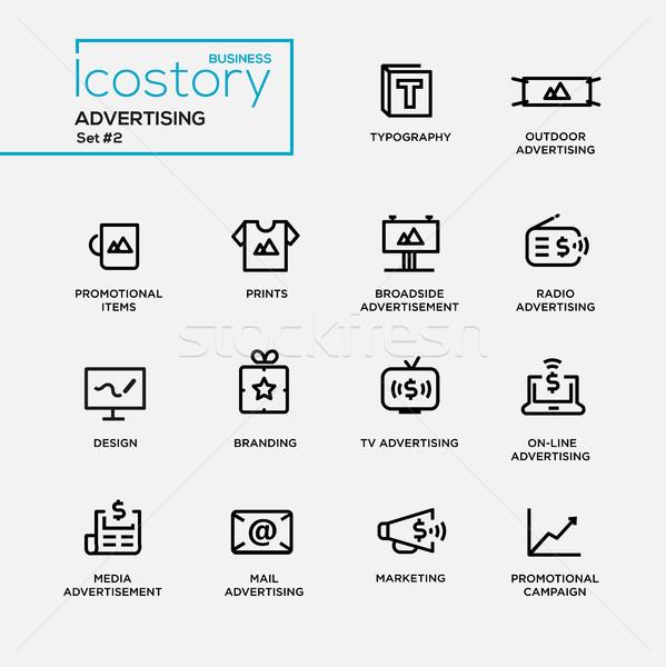 Modernes publicité simple léger ligne design Photo stock © Decorwithme
