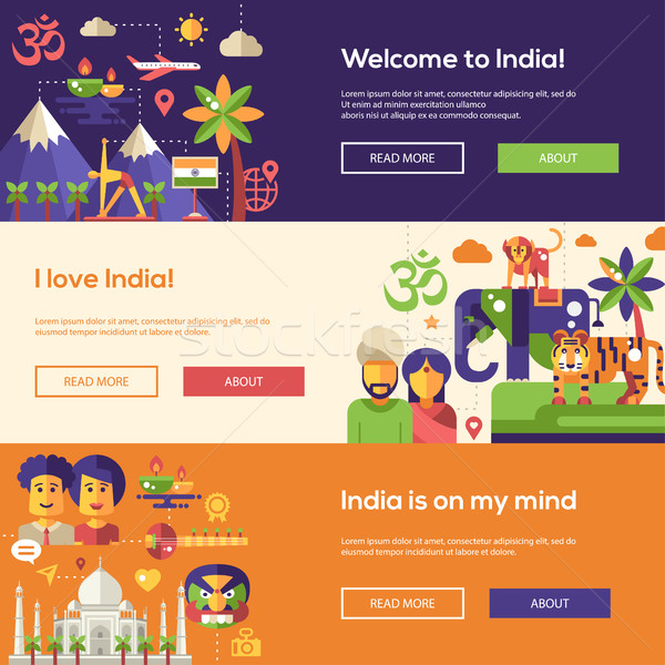 Indië website banners ingesteld welkom Stockfoto © Decorwithme
