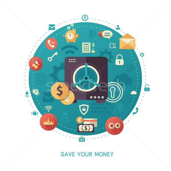 Save your money - modern flat design business infographics illustration Stock photo © Decorwithme