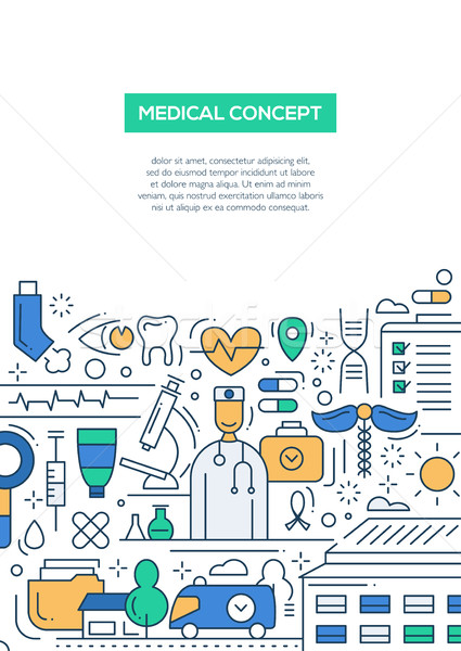 Stock photo: Medical Concept - line design brochure poster template A4