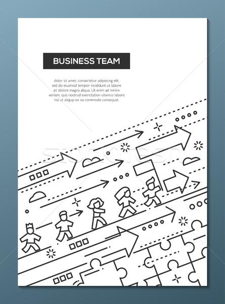Zespół firmy line projektu broszura plakat szablon Zdjęcia stock © Decorwithme