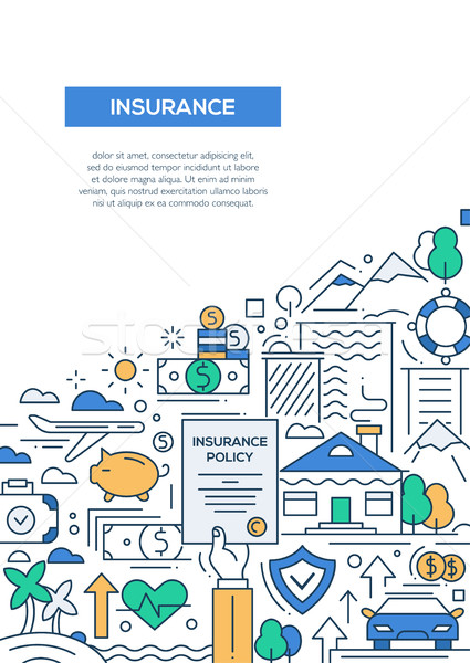 Insurance - line design brochure poster template A4 Stock photo © Decorwithme