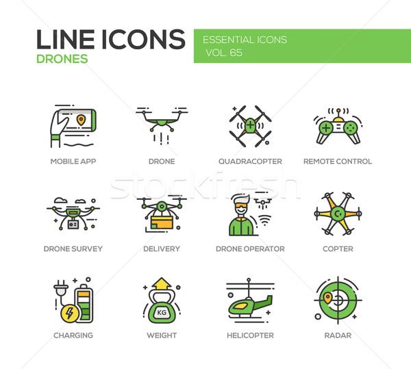 Drones - line design icons set Stock photo © Decorwithme