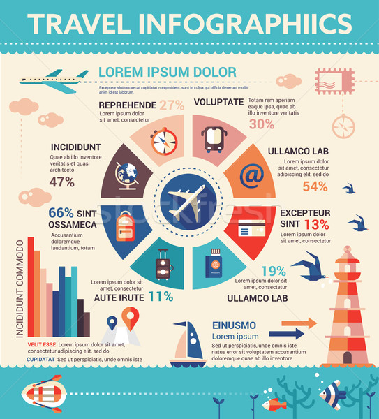 Travel Infographics - poster, brochure cover template Stock photo © Decorwithme