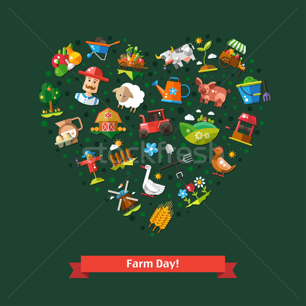 Heart composition of modern flat design farm and agriculture ico Stock photo © Decorwithme