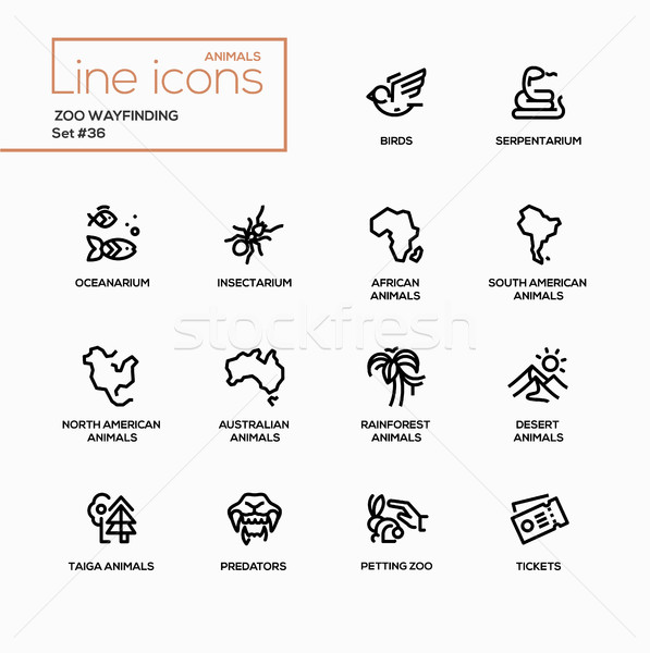 Zoo wayfinding - modern vector single line icons set Stock photo © Decorwithme