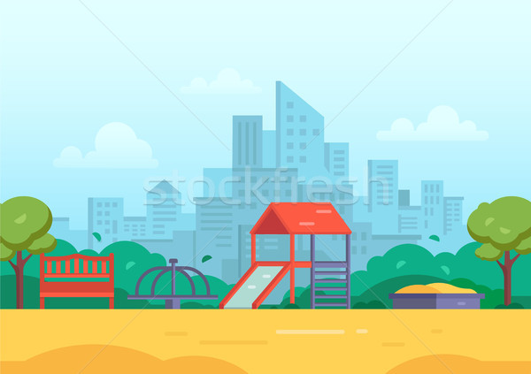 Children's playground in a big city - modern vector illustration Stock photo © Decorwithme
