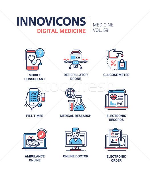Digital medicine - line design icons set Stock photo © Decorwithme
