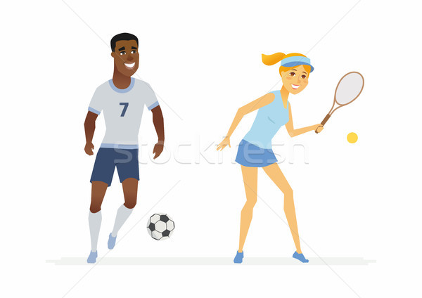 Tennis and football players - cartoon people characters illustration Stock photo © Decorwithme