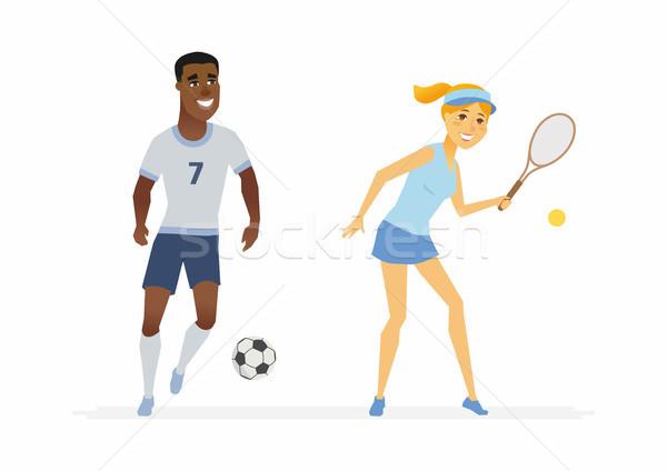 Tenisz futball játékosok rajzolt emberek betűk illusztráció Stock fotó © Decorwithme