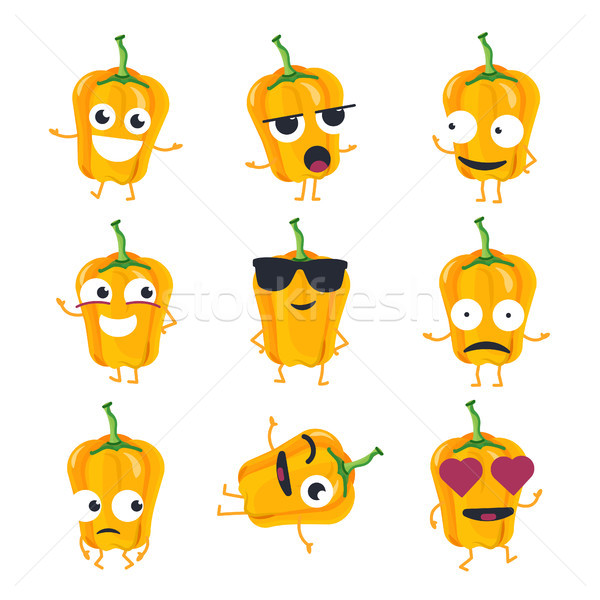Funny yellow pepper - vector isolated cartoon emoticons Stock photo © Decorwithme