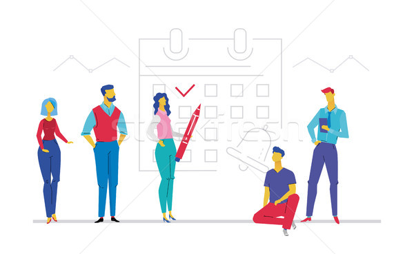 Business planning - flat design style colorful illustration Stock photo © Decorwithme