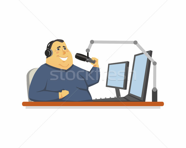 Radio presenter - cartoon people character isolated illustration Stock photo © Decorwithme
