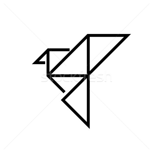 Origami madár vonal terv izolált ikon Stock fotó © Decorwithme