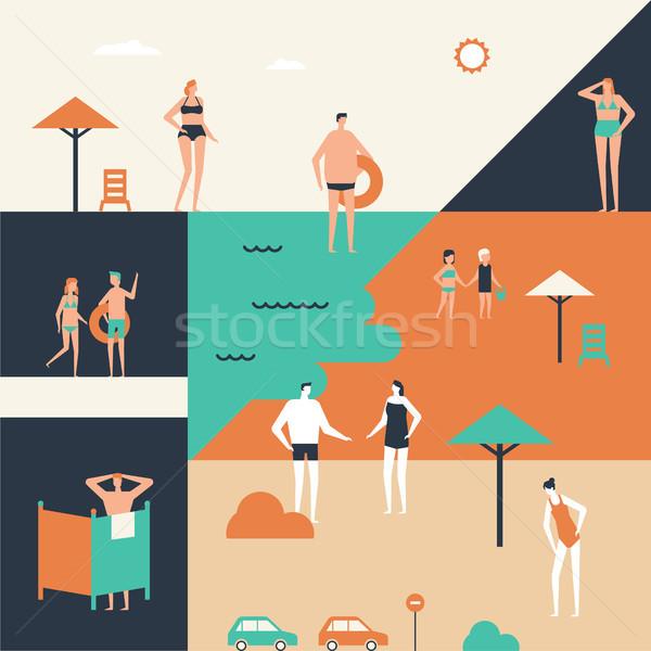 Vacances d'été design style illustration cute cartoon Photo stock © Decorwithme
