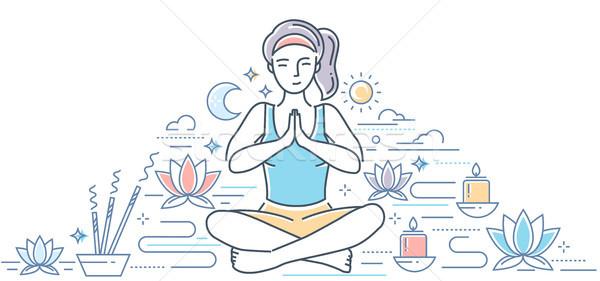 Gyakorol jóga modern vonal terv stílus Stock fotó © Decorwithme
