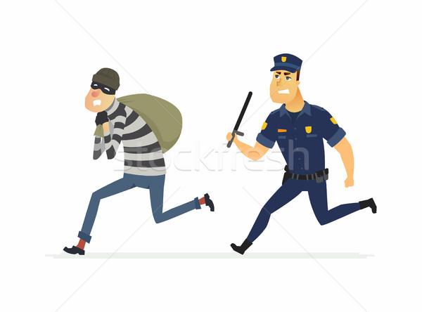 Złodziej policjant ilustracja odizolowany Zdjęcia stock © Decorwithme