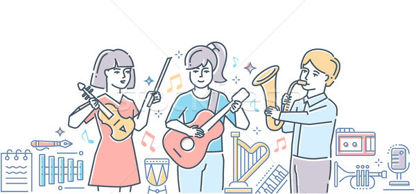 Music school - colorful line design style illustration Stock photo © Decorwithme