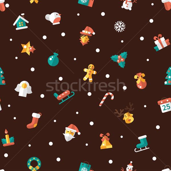 Illustratie christmas gelukkig nieuwjaar ontwerp patroon vector Stockfoto © Decorwithme