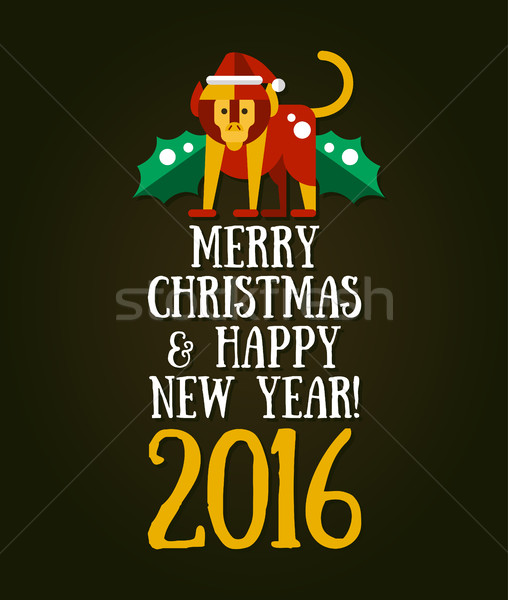 Christmas and Happy New Year 2016 Greeting Card. Modern unusual vector illustration with monkey. Stock photo © Decorwithme