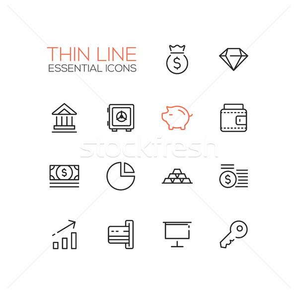 Stock fotó: üzlet · pénzügy · szimbólumok · vonal · terv · ikon · szett