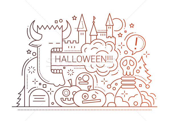 Stock fotó: Halloween · vonal · terv · kártya · buli · egyszerű