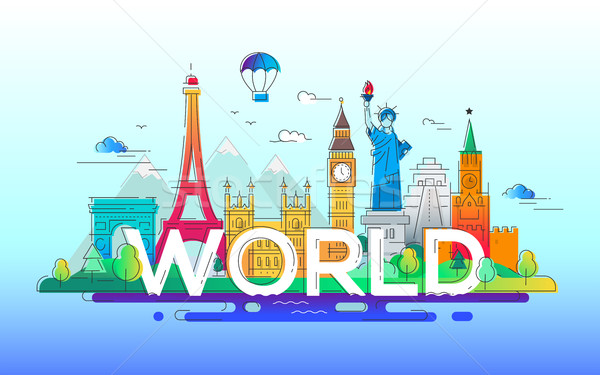 World - vector line travel illustration Stock photo © Decorwithme