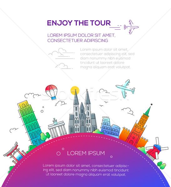 élvezi turné terv utazás híres ikonok Stock fotó © Decorwithme