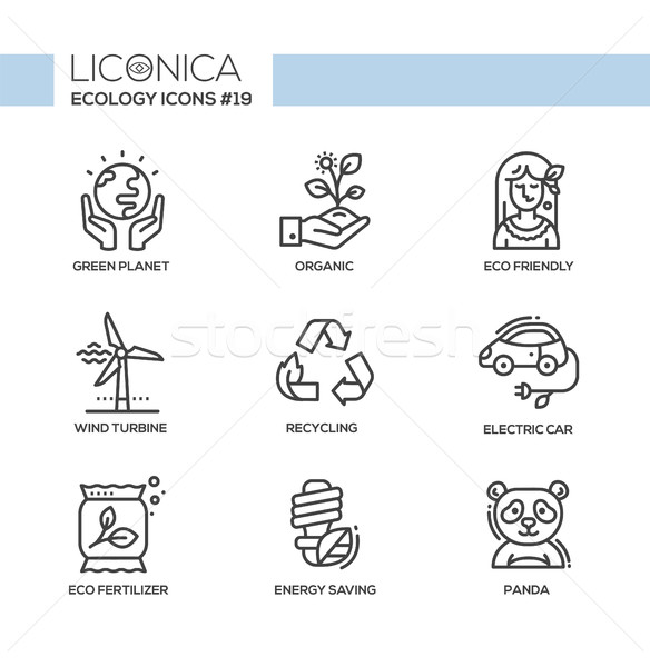 Green Ecology - monochromatic modern single line icons set Stock photo © Decorwithme
