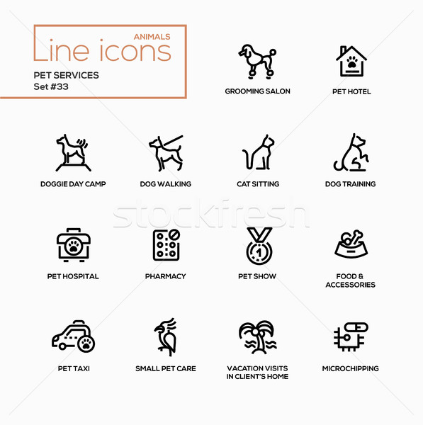 Pet services - modern vector single line icons set Stock photo © Decorwithme