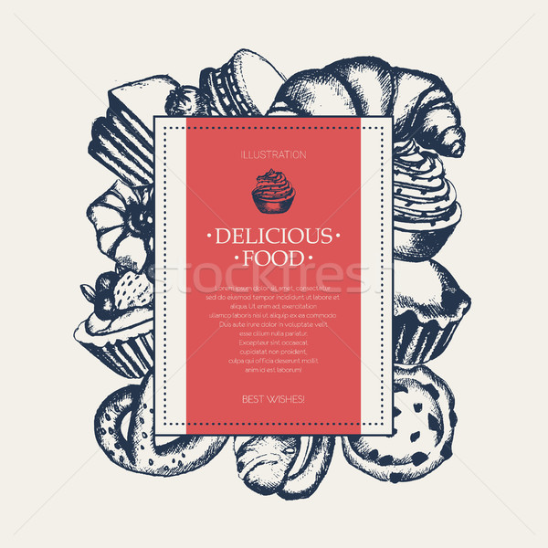 Delicious Food - monochromatic hand drawn square banner. Stock photo © Decorwithme
