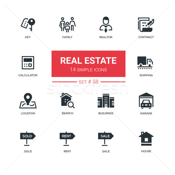 Business concept, real estate - line design icons set Stock photo © Decorwithme